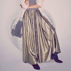 Free People Lost in Light metallic Maxi Skirt 0 xs
